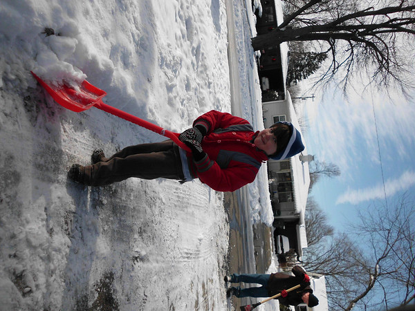 4 year old Peyton Heath helping Daddy shovel<br /> <br /> Photographer's Name: Sheri Heath<br /> Photographer's City and State: Anderson, IN