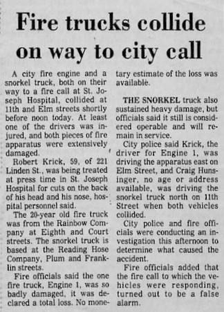 1.22.1983 Fire Trucks Collide On Way To Call