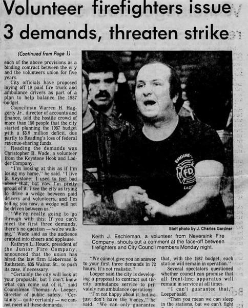 12.9.1986 Volunteer Firefighters Issue Demands, Threaten Strike-1