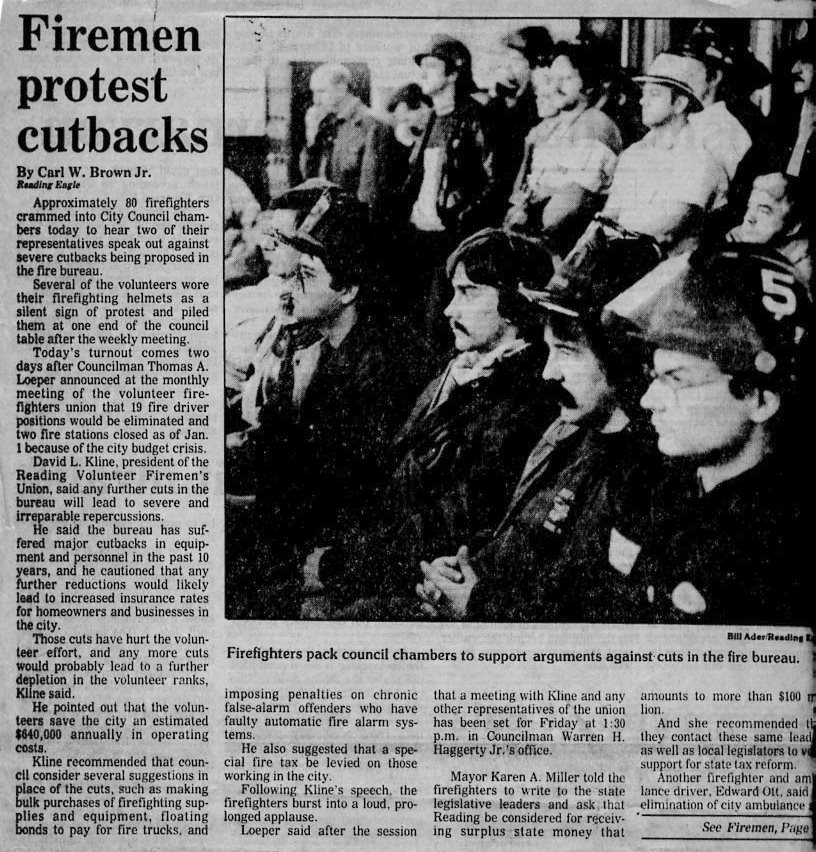 Firemen Protest Cutbacks