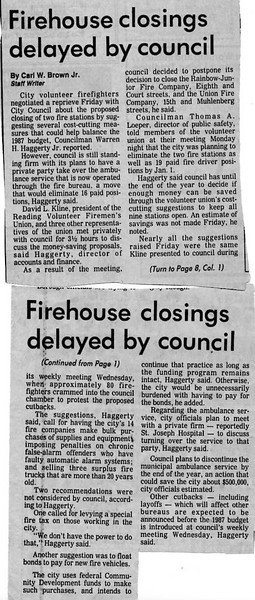 Firehouse Closings Delayed By Council