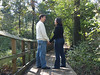 In Love & Exploring Nature : This happily engaged couple spend some time wandering an arboretum and enjoying a cool autumn morning together.  They explore the many acres seeing a variety of natural spots that include fallen trees, a pond, and pathways with wooden bridges and benches to sit closely and be in love.