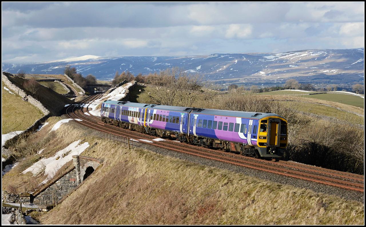 2018 03 08.N/R unit on the 14.04 Carlisle-Leeds service at Birkett.