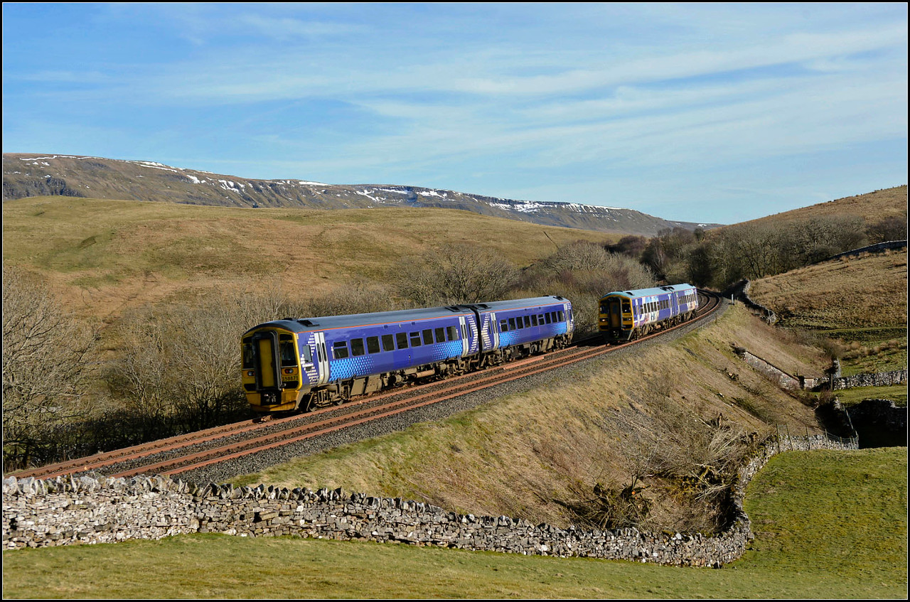 2018 04 05. Passing S/R unit 158871at Birkett with the late running N-R 158910 north bound  allowed this effort to be captured.