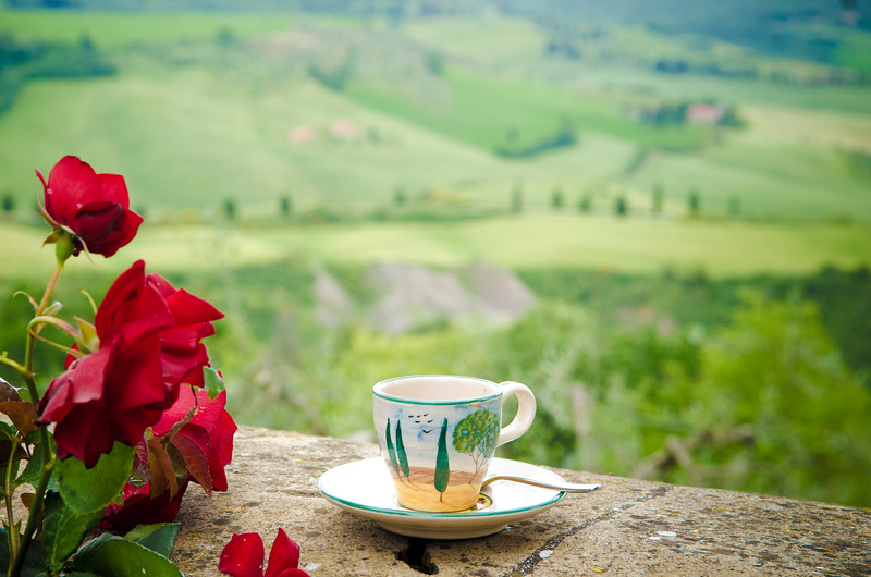 Morning coffee in Tuscany