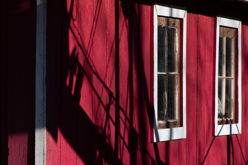 Red barn with windows