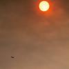Small plane, orange sky