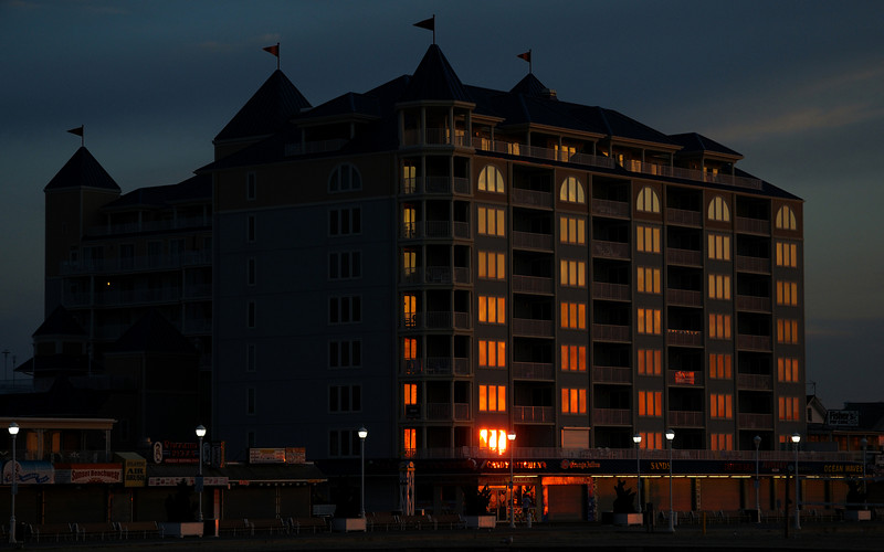 """Second Hand Sunrise""..............Belmont Towers, Ocean City Maryland Boardwalk."