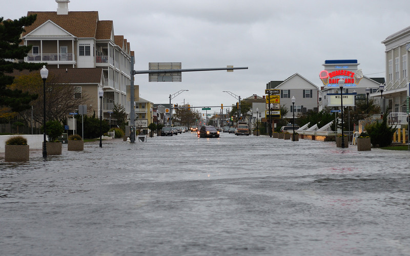Little minor flooding on coastal highway downtown from recent Northeaster. Taken from in front of the Coast Guard station looking north.