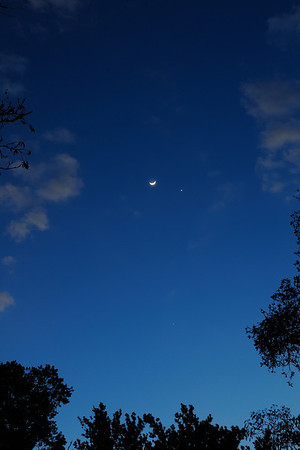 The Moon, Venus and Jupiter near the bottom