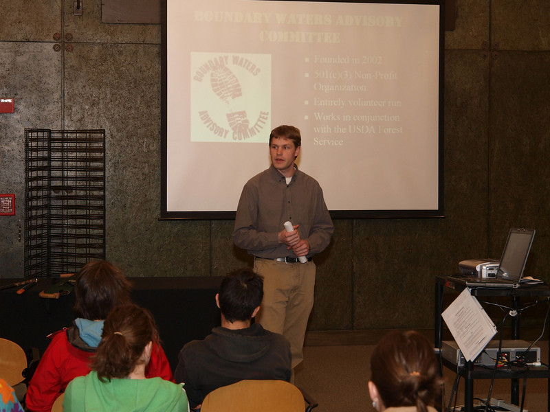 Luke at REI Bloomington on March 17 2010 presenting Boundary Waters trails and the role of the BWA Committee in keeping them open.