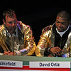 Team Gold captains Tim Wakefield and David Ortiz.