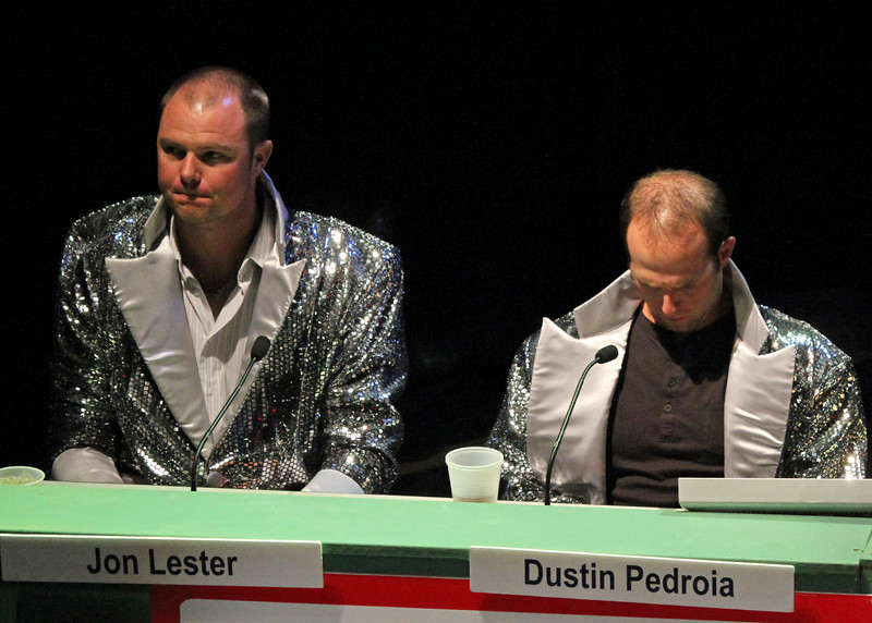 Team Silver captains Jon Lester and Dustin Pedroia  look less than thrilled.