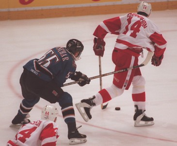 Detroit Red Wing Brendan Shanahan (14) is hooked by Washington Capitals Sergei Gonchar (55) during the first period of game 2 of the Stanley Cup.