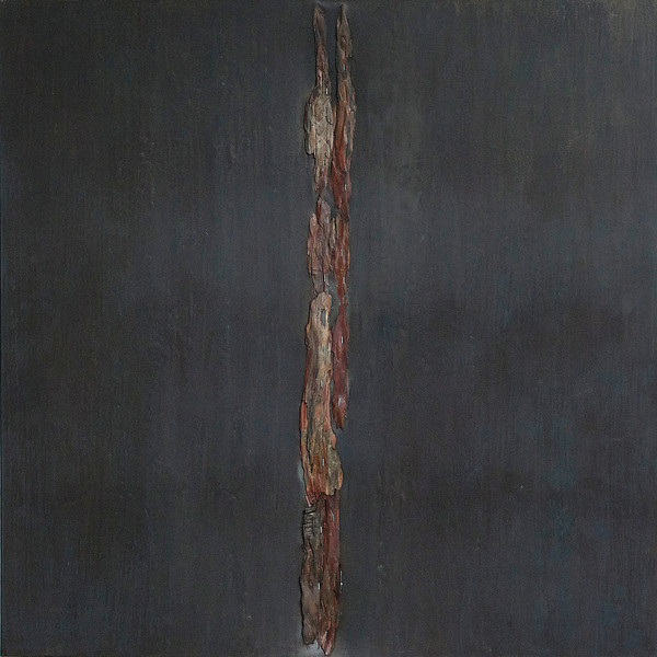 wood, acrylic pva and staples on canvas 100cm x 100cm