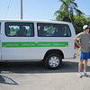 Paul standing next to our van as we waited for Raul to run through Petaluma