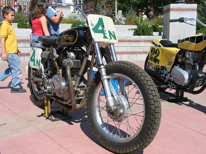 In the plaza, there was a small display of old school dirt bikes.