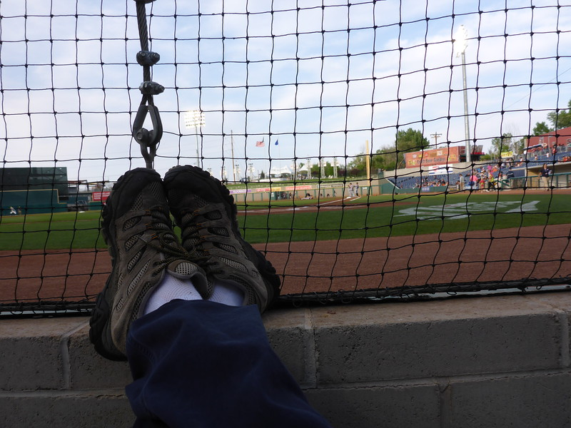 My footrest. The cable and turnbuckle were kind of annoying as it partially obstructed my view. I switched seats with Tamar in about the 8th inning, and I liked her view better.