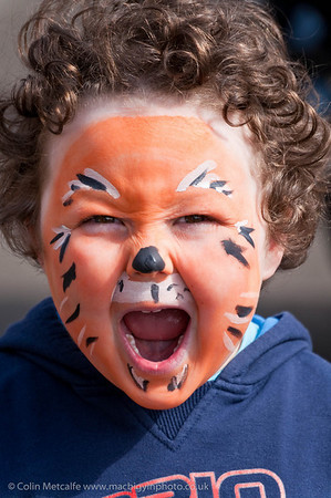 A young boy shows off his facepainting at Ballymena Methodist Church's Fun Day