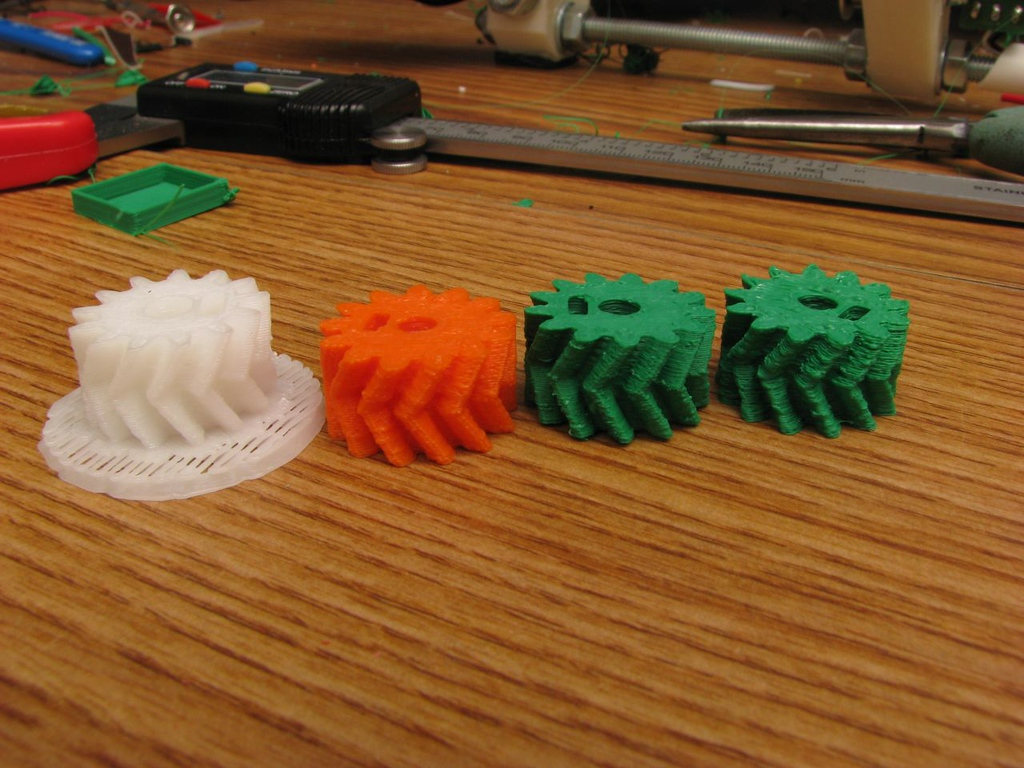 From Left to Right:<br /> -UP! printed <br /> -1.76mm filament out .35mm nozzle .25mm layers<br /> -3mm filament out .35mm nozzle .2mm layers<br /> -3mm filament out .5mm nozzle.. .25mm layers
