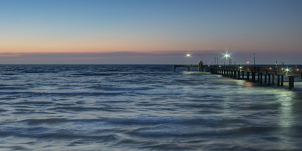 Bob Hall Pier just before sunrise.
