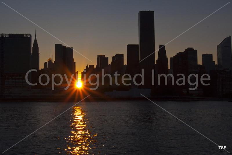 Sunset through the city