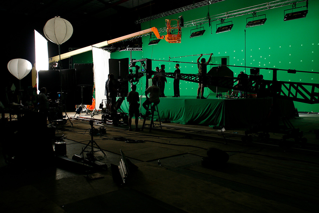 IQ-145 green screen on sound stage at Screen Gems Studios.