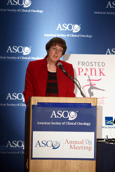 Chicago, IL - ASCO 2008: Nancy Davidson, MD, President of ASCO, speaks at the Frosted Pink with a Twist press briefing Friday May 30, 2008 during the American Society of Clinical OncologyÕs (ASCO) 44th Annual Meeting. The meeting attracts more than 25,000 oncologists, cancer researchers and cancer care professionals from more than 100 countries. Date: Friday May 30, 2008 Photo by © AACR/Todd Buchanan 2008 ASCO Contact: Tiffany Reynolds/Communications Dept.; 703-519-1423. Technical Questions: todd@toddbuchanan.com; Phone: 612-226-5154.