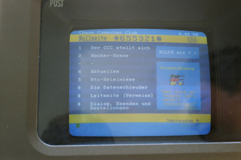 "1987 Bildschirmtext BTX German Videotex (Videotext) System showing ""site"" for Chaos Computer Club"