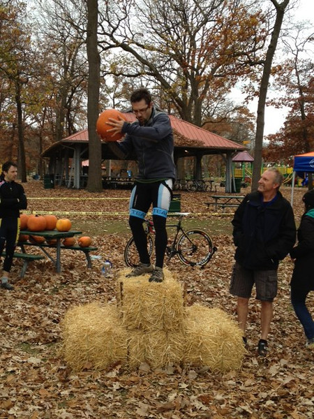 Hallow Cross Race - Sarnia October 27th, 2012<br /> Jean-Yves climbing the bale. harder than the race!