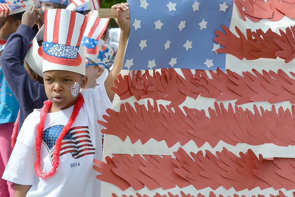 ". Mike McMahon - The Record ,  Caliek Fortune with kindergarden class at Troy\'s School 14 celebrate ""Red, White and Blue\"" day to honor the flag and patriotism,  Friday June 6, 2014"