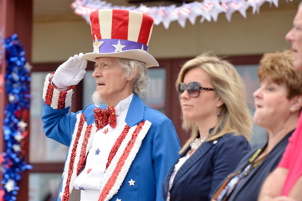 ". Mike McMahon - The Record ,  ""Uncle Sam\"" Fred Polnisch at Troy\'s School 14 celebrate \""Red, White and Blue\"" day to honor the flag and patriotism,  Friday June 6, 2014"