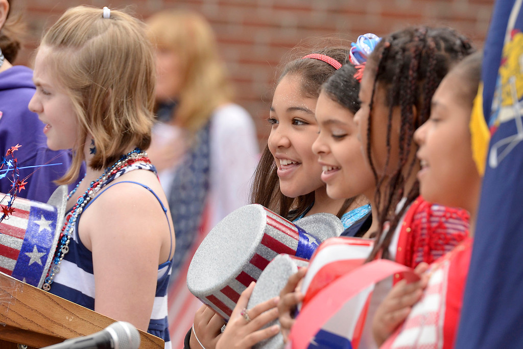 ". Mike McMahon - The Record ,  Students sing the Star Spangled Banner at Troy\'s School 14 celebrate ""Red, White and Blue\"" day to honor the flag and patriotism,  Friday June 6, 2014"