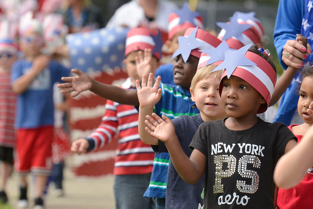 ". Mike McMahon - The Record ,  Troy\'s School 14 celebrate ""Red, White and Blue\"" day to honor the flag and patriotism,  Friday June 6, 2014"