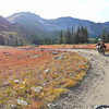 Riding through the alpine tundra near Taylor Reservoir in Colorado.