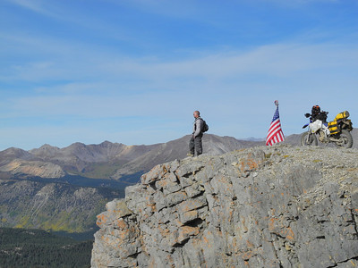 A rider ascends American Flag Mountain near Taylor Reservoir in Colorado.