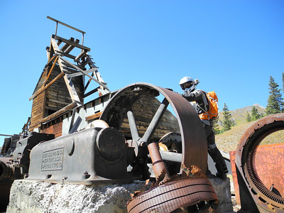 Playing around on long abandoned mining equipment in Colorado.