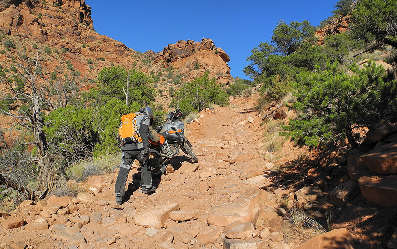 Ascending Rose Garden Hill on the Kokopelli Trail in Utah.  Absolutely not recommend for anyone on larger adventure bikes.  We were stopped be the difficult ledges and boulders not seen in the picture and had to retrace our path.