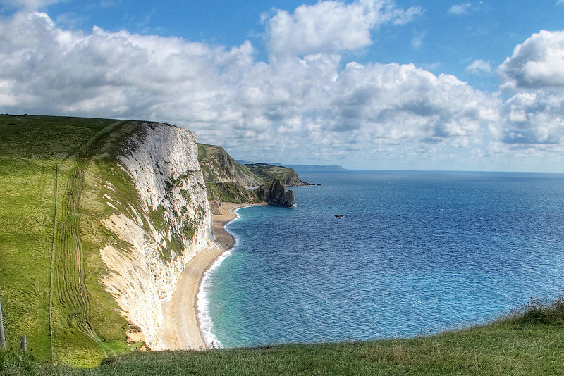 Swyre Head (the western one) with Durdle Door beyond from Bat's Head.