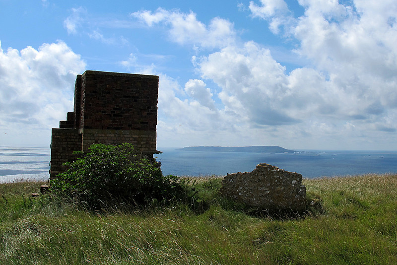 Remains of a wartime lookout/pillbox at White Nothe overlooking Portland Harbour, formerly a Royal Navy anchorage.