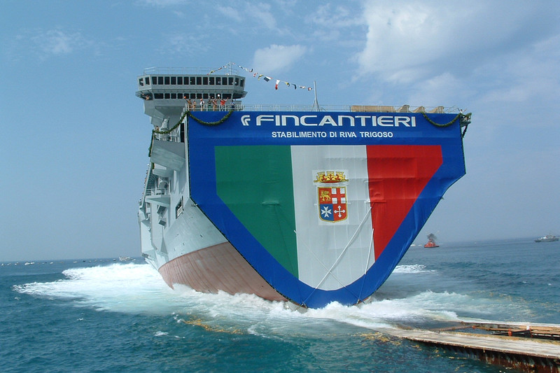 Launch of the Cavour aircraft carrier.<br /> <br /> Varo della portaerei Cavour.