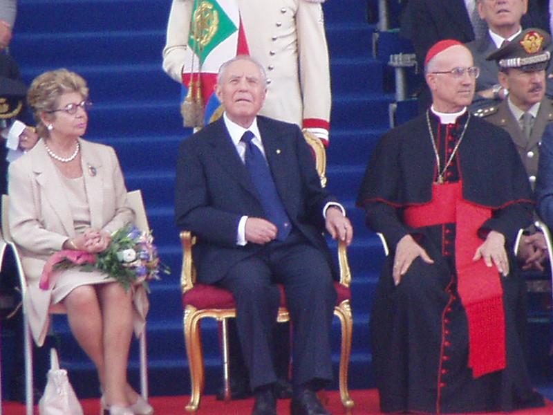 Then Italian president Carlo Azeglio Ciampi with his wife Franca and Cardinal Tarcisio Bertone.<br /> <br /> L'allora presidente Ciampi con la moglie Franca ed il cardinale Tarcisio Bertone.