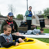 Brandon Parkhill in the kayak with Jared Skaggs, instructor from Kent State