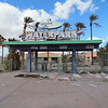 The entrance.  The glass from the waterpark sign are those pieces on the ground.  There was a lot of broken glass in many places.