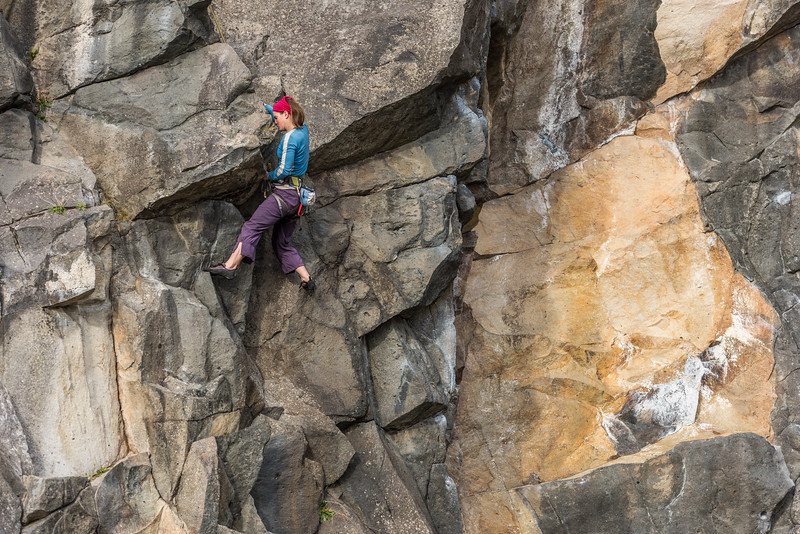 Kat Vollinger climbing Kennedy's Crack (17). The Pinnacle Sunnyside, Long Beach, Dunedin.