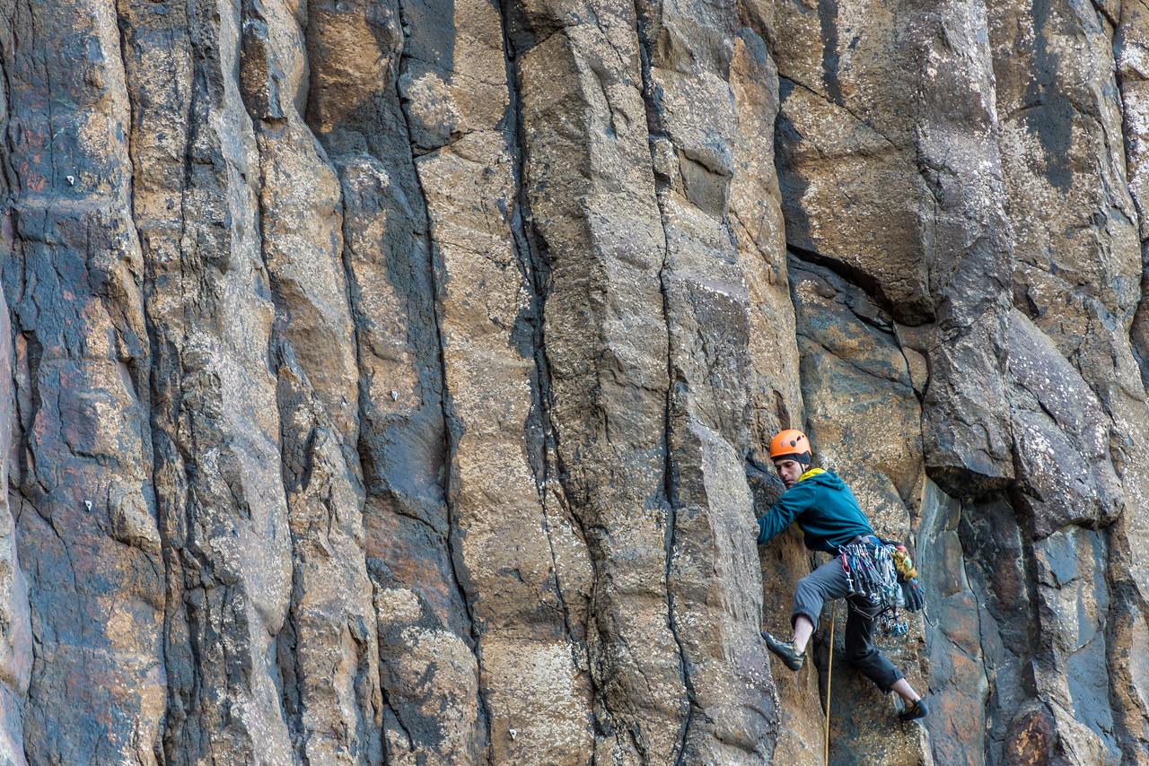 Natan Richman climbing at Lovers Leap. Otago Peninsula.
