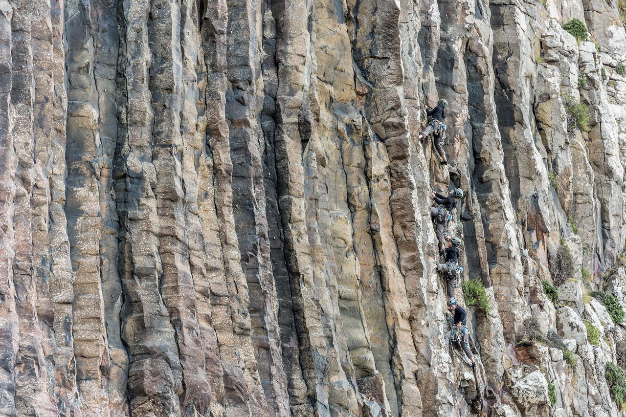 Kat Vollinger climbing at Lovers Leap. Otago Peninsula.