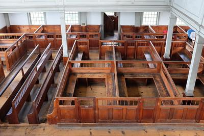 "Rockingham Meeting House - looking down at the ""pigpen"" pews"