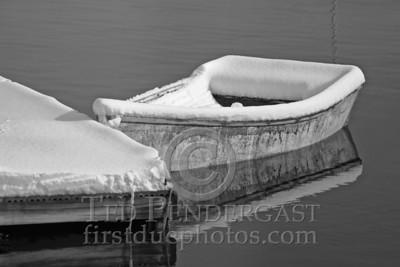 Rowboat at Dock in Black & White - Rockport, Massachusetts - 147
