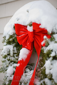 Christmas Wreath and Ribbon in Snow - Rockport, Massachusetts - 184